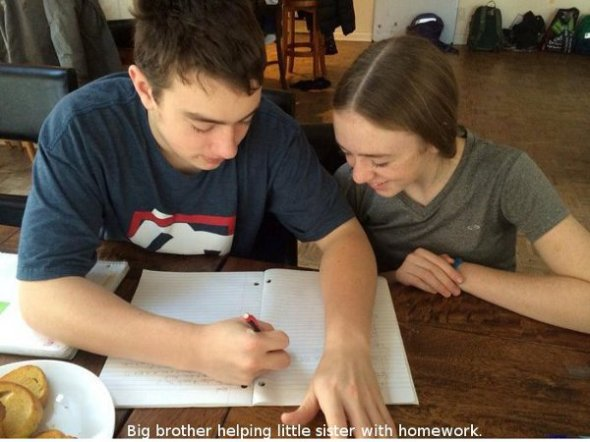 Big brother helping little sister with homework.